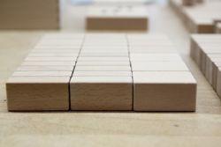 Buchenholzbausteine, gefertigt in Auftragsarbeit.